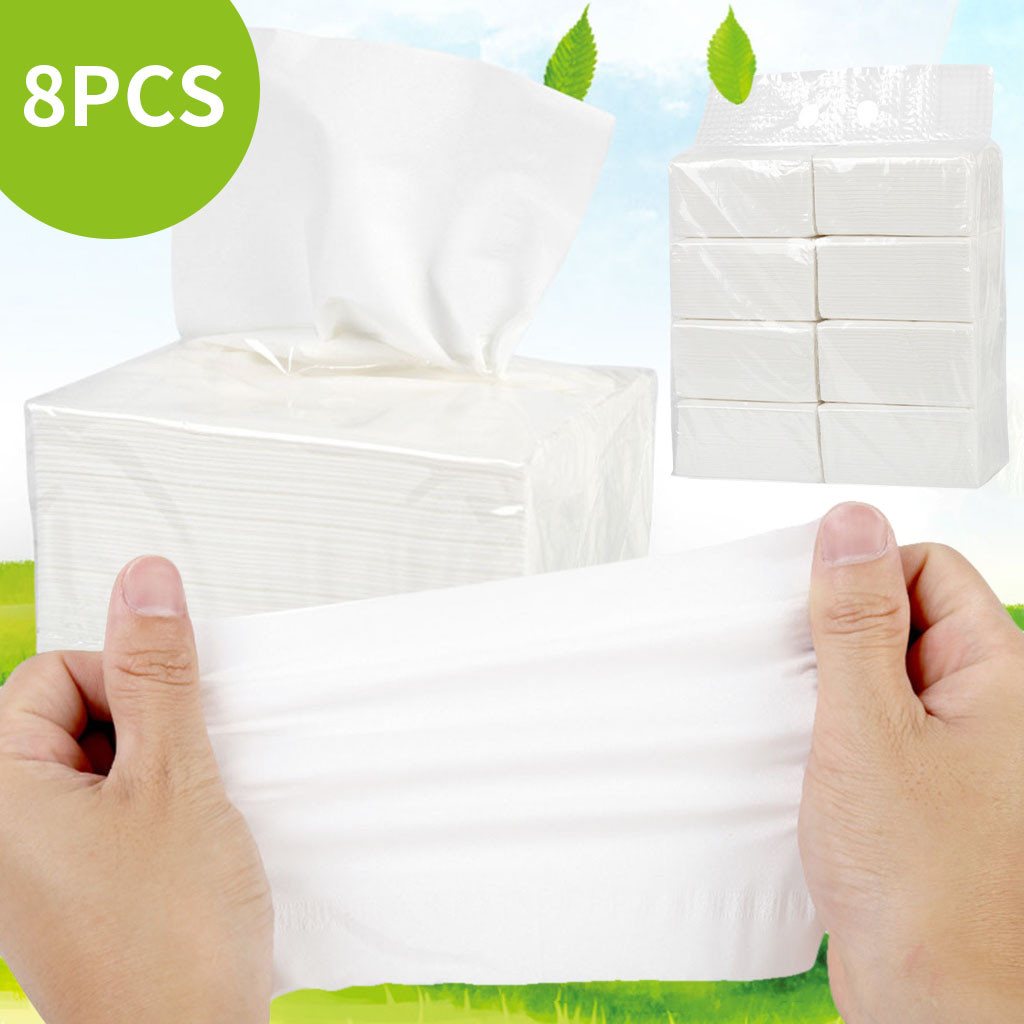 In Stock 8PC Paper Towels Household Soft Large Quantity Durable Napkins Toilet Paper Towels Facial Tissues 135 Sheets