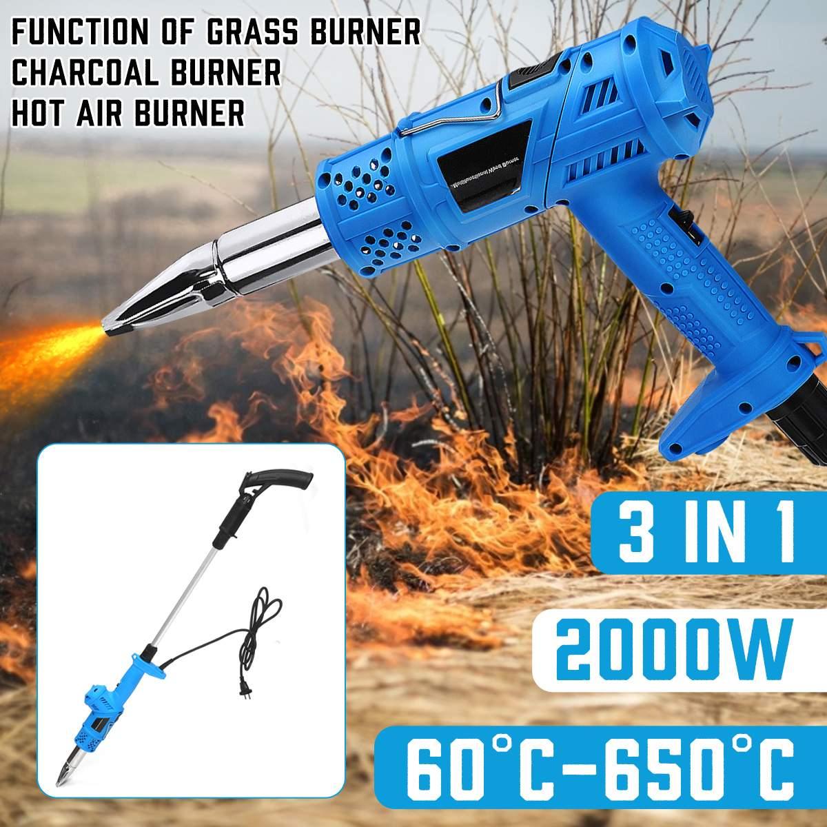 3-in-1 Electric Lawnmower Weeder 2000W Power Garden Tools Weeds Burner Professional Weeding High Efficiency Detachable Handle