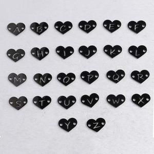 Image 5 - Fnixtar 26Pcs 1.2*12mm Mirror Polish Stainless Steel Heart Letter Charms Initials Alphabet Connector Charm For Braid Bracelets