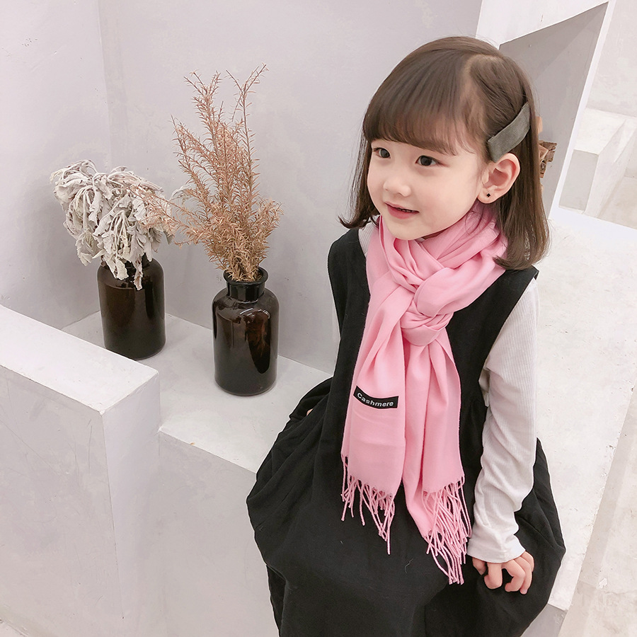 Baby Scarf Korean-style Infant Autumn And Winter BOY'S Girls Faux Cashmere Warming Scarf Children Solid Color Bandana Fashion