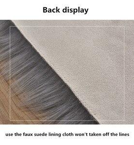 Image 4 - לבן פרוותי שטיח לחדר שינה ילדים ארוך פלאפי שטיחים נגד החלקה שאגי אזור שטיח אוכל חדר שטיח סלון דקו מלאכותי צמר
