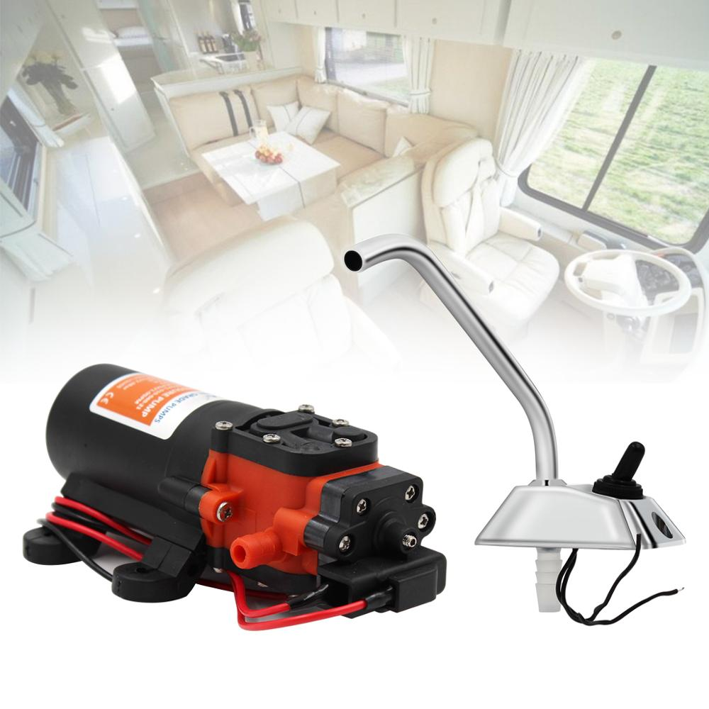 RV Water Pump 12V Boat Caravan Camper Self-Priming Galley Electric Water High Pressure Pump 3.8 L/Min With Faucet Tap