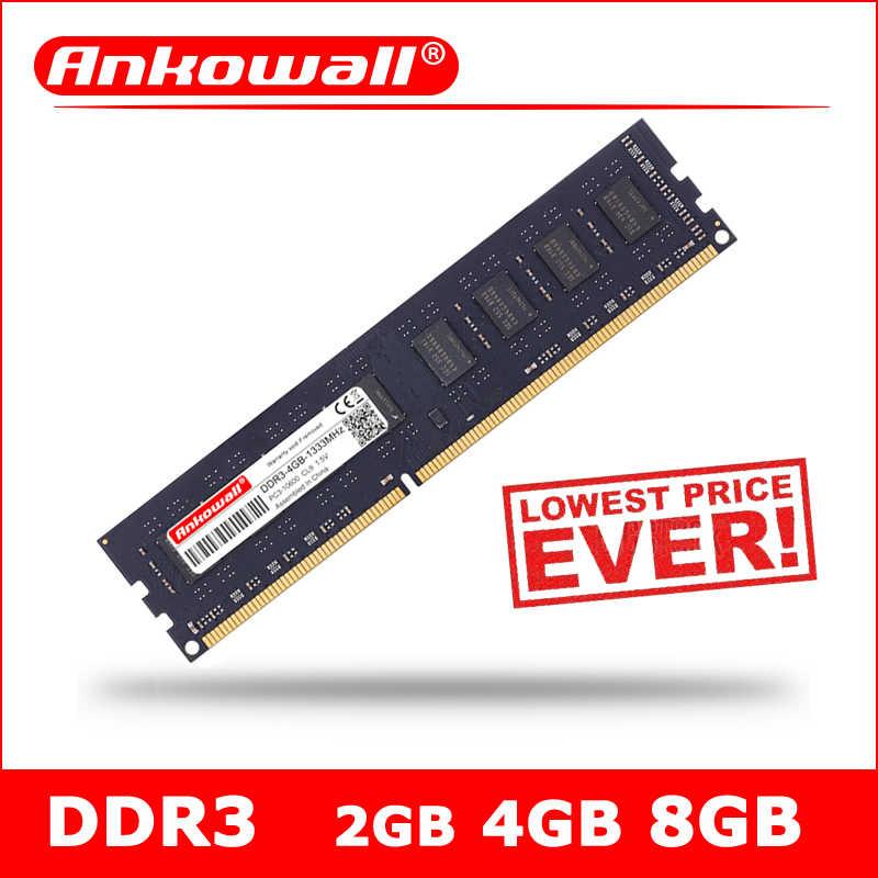 ANKOWALL DDR3 2 ギガバイト 4 ギガバイト 8 ギガバイトの RAM メモリアラム PC3 10600 12800 1333MHz 1600 デスクトップメモリのためのインテル DIMM 240Pin 1.5V CL9 CL11 NON-ECC