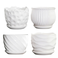 Set of 4 White Flower Pots 5.5 Inch Cylindrical Ceramic Flower Pots with Attached Saucers  Flower Pots for Kissing and Little Sn|Nursery Pots|Home & Garden -