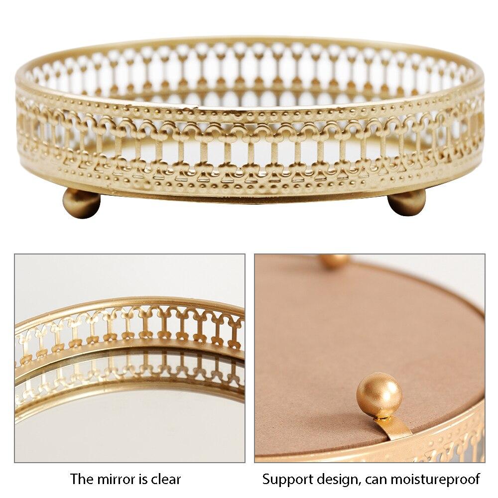 Storage-Tray Glass-Mirror-Base Cosmetic-Decoration Finishing-Plate Bedroom Gold Jjewelry