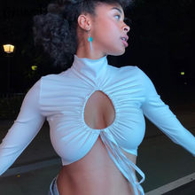 OrangeA 2021 Frühling Frauen Sexy Aushöhlen T-Shirt Kordel Spitze Up Rollkragen Geraffte Tops Hot Street Party Clubwear Outfits