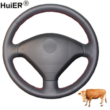 Hand Sewing Car Steering Wheel Cover Volant Top Layer Cow Leather Funda Volante For Peugeot 307 2001-2007 2008 307 SW 2005-2008