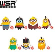 Usb2.0 4gb 8gb 16gb little yellow people big eye portable student flash disk drive 32gb 64gb cheap kawaii cartoon mini cute gift