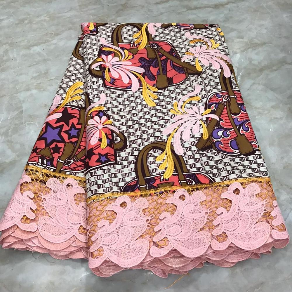 Ankara Lace Wax African Embroidery Dutch Wax With Guipure Lace Fabric For Clothes High Quality Holland Super Wax Fabric Pagne