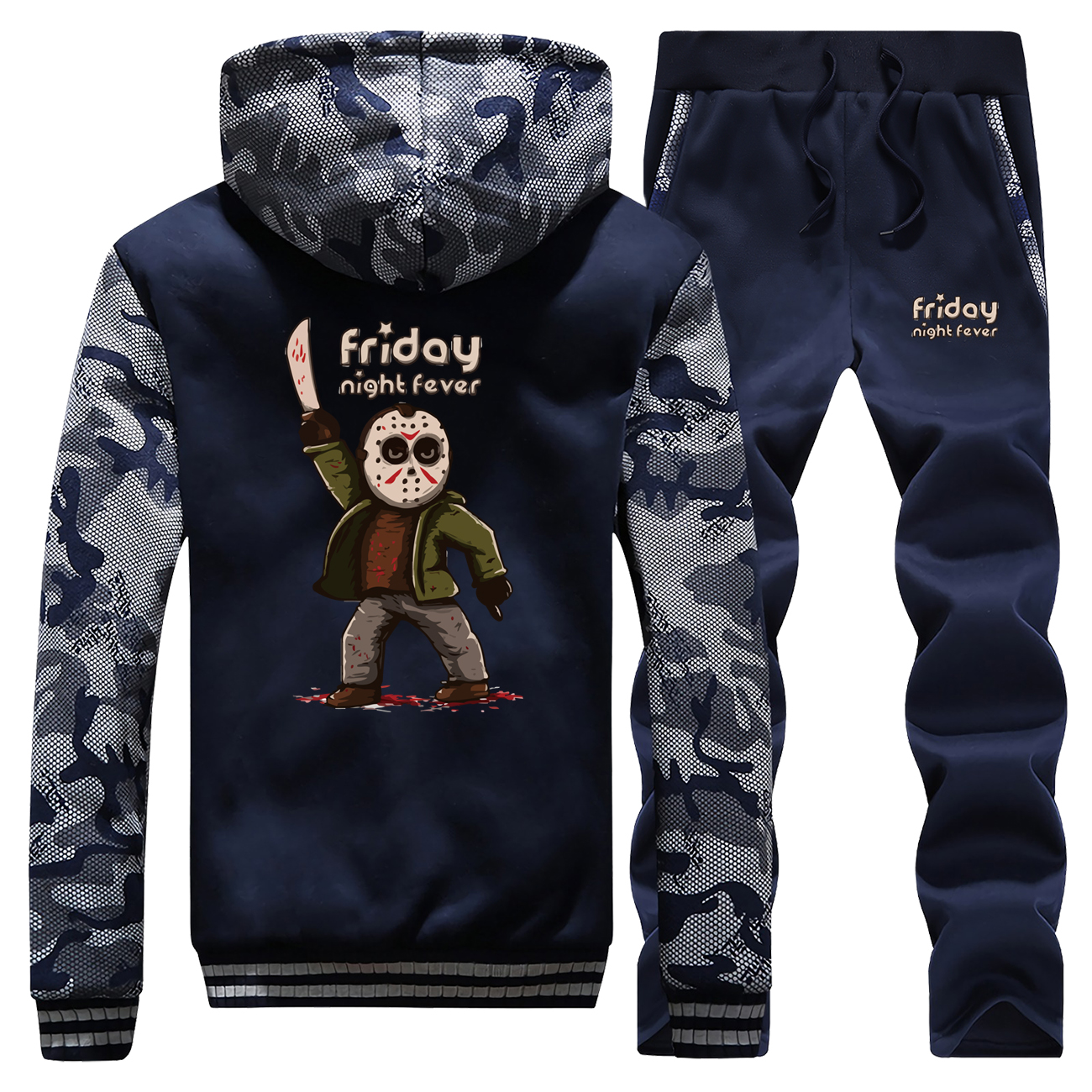 Horror Prison Friday The 13th New Winter 2019 Mens Hoodie Fashion Camouflage Coat Thick Suit Casual Jackets+Pants 2 Piece Set