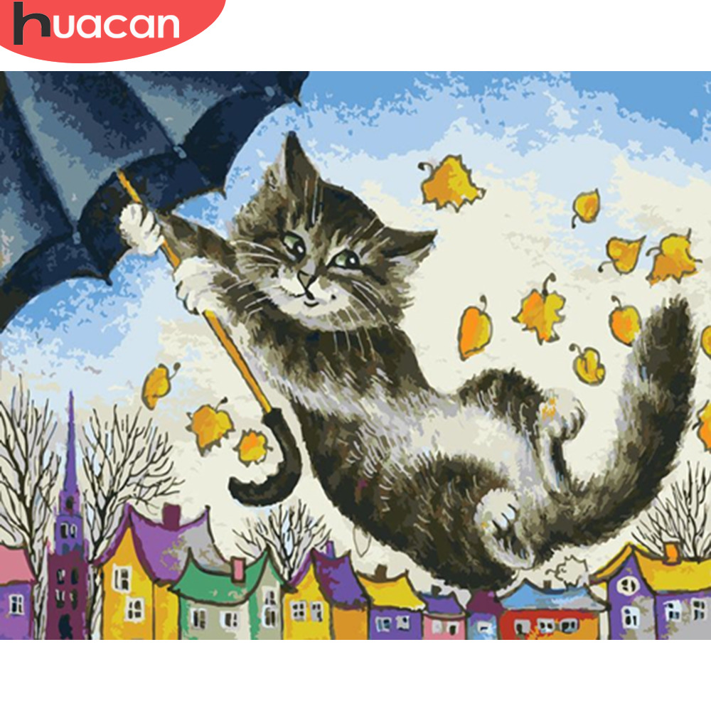 HUACAN DIY Pictures By Numbers Cat Animals HandPainted Kits Drawing Canvas Oil Painting By Numbers Home Decoration Gift