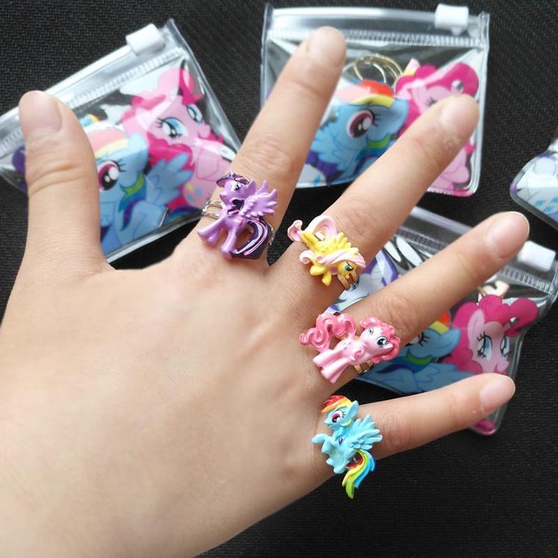 36 шт./набор, с рисунком из мультфильма «Мой Маленький Пони» оригинальный рисунок Регулируемые кольца тапочки в виде персонажа аниме Рисунок...