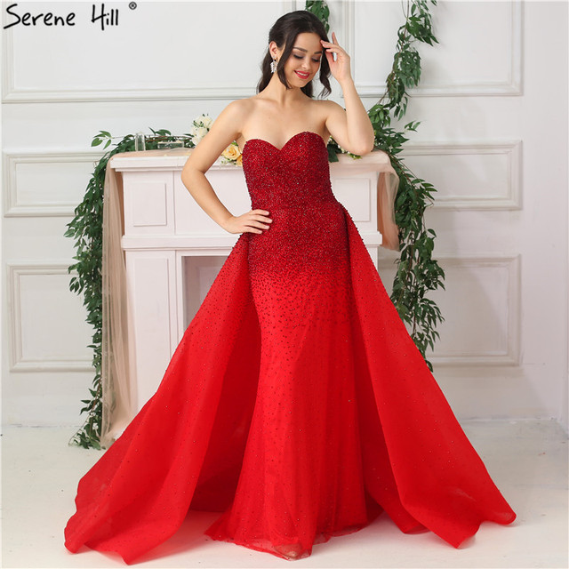 Dubai  Red Sweetheart Sexy Evening Dresses Full Crystal Luxury Fashion With Train Evening Gowns BLA6637