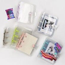 MINKYS Kawaii brillante Mini Bling bolsillo 3 Ring Binder diario cuaderno diario del programa DIY libro de fotos coreano papelería de la escuela