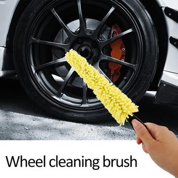 Koło samochodowe szczotka do mycia plastikowy uchwyt koło pojazdu felgi szczotka do czyszczenia opon czyszczenie gospodarstwa domowego czyszczenie samochodu akcesoria samochodowe tanie i dobre opinie JOSHNESE 29cm Plastic + Sponge Wheel Washing Brush 28x4 5 cm 1* Wheel Washing Brush