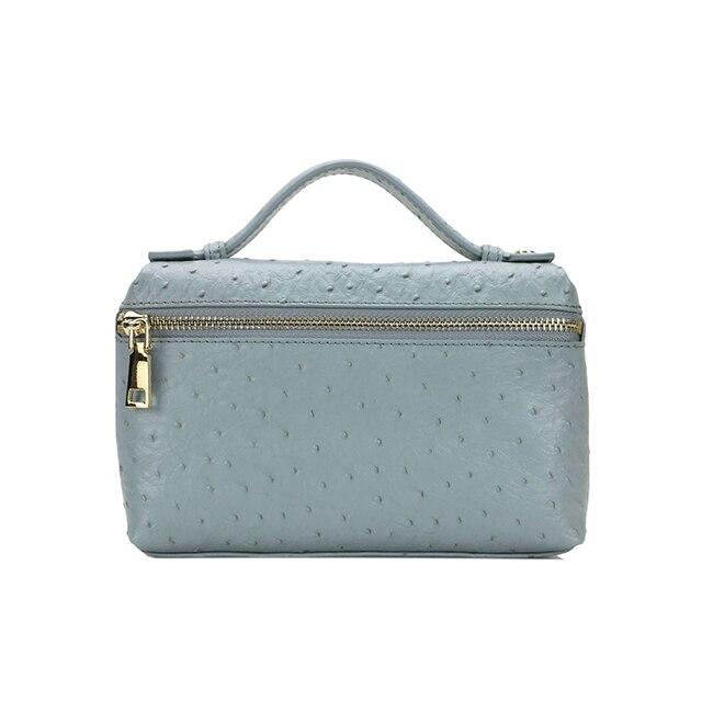 موضة جديدة موموغراميد مخصصة الحروف الأولية النعامة نمط حقيبة يد جلدية المحمولة النعامة حقيبة صغيرة من الجلد حقيبة اليد