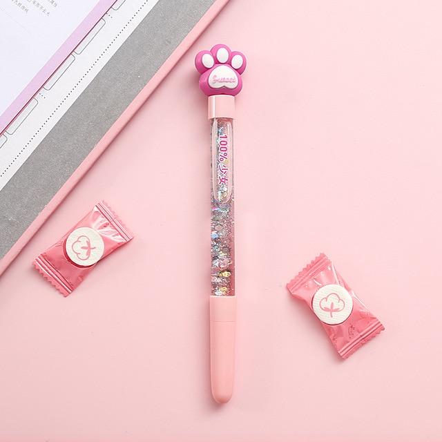 1pc Cute Fairy Pen Creative Quicksand Sequins Unicorn Flamingos Pig Moon Cat Claw Dinosaur Gel Pen Novelty Stationery Supply 5