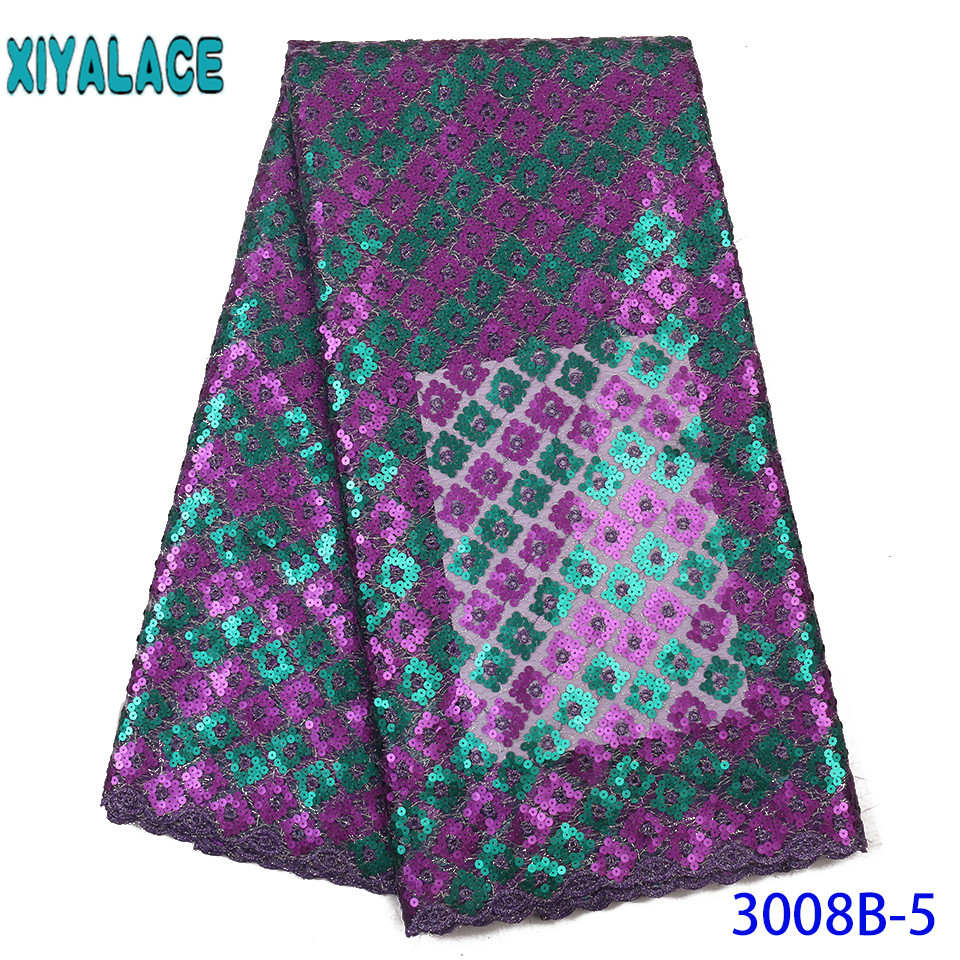 African Sequin Lace Fabric 2019 High Quality Lace New Double Net Laces With Sequences For Women Dresses KS3008B
