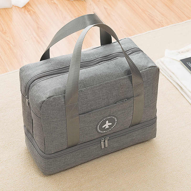 Çok fonksiyonlu silindir çanta büyük el bagaj çantaları kadın spor spor çantası su geçirmez seyahat el çantası ile ayakkabı çantası mochila