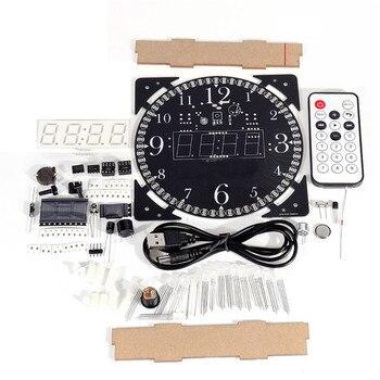 풀 컬러 rgb 대형 스크린 다기능 전자 시계 diy 키트 조명 제어 디지털 튜브 디스플레이 모듈 mcu led 시계