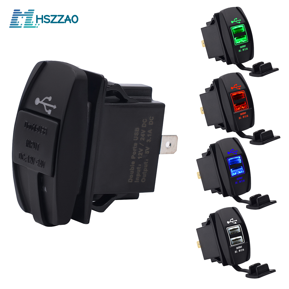 12-24V Car And Motorcycle Universal Dual USB Car Charger Mobile Phone Charger Waterproof LED Light Car Charger