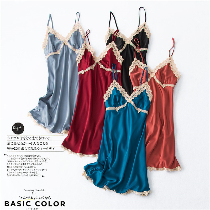 He78beb6c6e9f4d0392cfec1f25bdfc0dP - Women's Sexy Lingerie Silk Nightgown Summer Dress Lace Night Dress Sleepwear Babydoll Nightie Satin Homewear Chest Pad Nightwear
