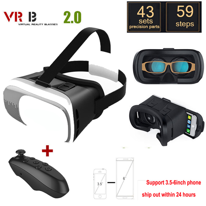 <font><b>VR</b></font> 2.0 <font><b>glass</b></font> <font><b>Glasses</b></font> Google Cardboard Virtual Reality 3D <font><b>VR</b></font> Smartphone+Bluetooth Gamepad For iPhone xiaomi 3.5 - 6.0 inch image