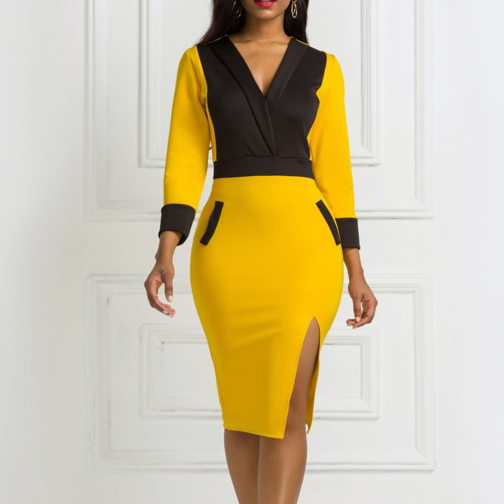 Yellow Women Spring Bodycon Dress 2020 African Patchwork Office Lady Workwear Midi Dresses Robe Elegant V Neck Female Vestiods