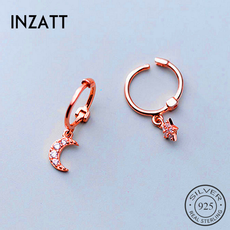 INZATT Real 925 Sterling Silve Zircon Moon Star Hoop Earrings For Fashion Women Party Fine Jewelry Minimalist Cute Accessories