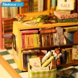 Robotime Creative DIY Cabin Entirely Handmade Assembling Sam Bookstore Model Birthday Gift Wood Craft Gift
