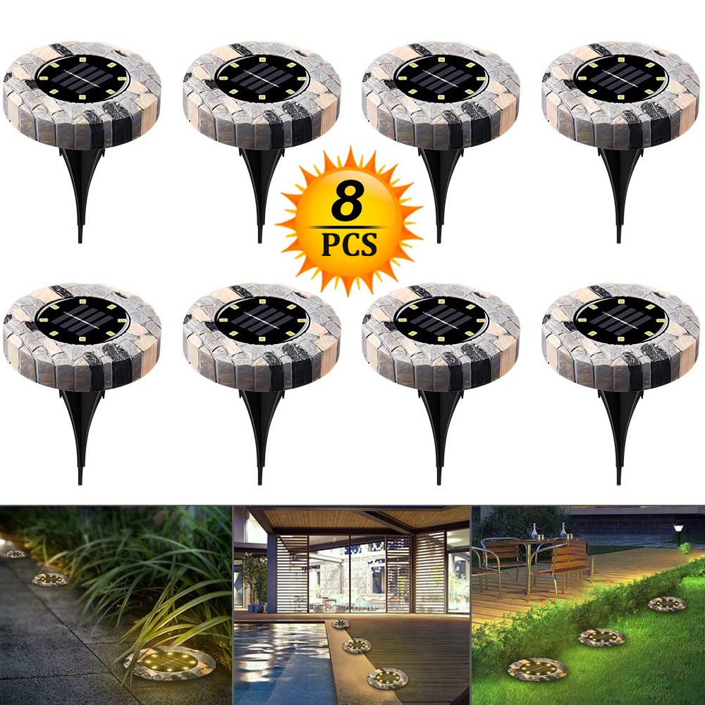 LED Ground Lamp Solar Light Stone-like Garden Decoratio Lights Waterproof Outdoor Deck Lights Lawn Pathway Walkway Path Lamp