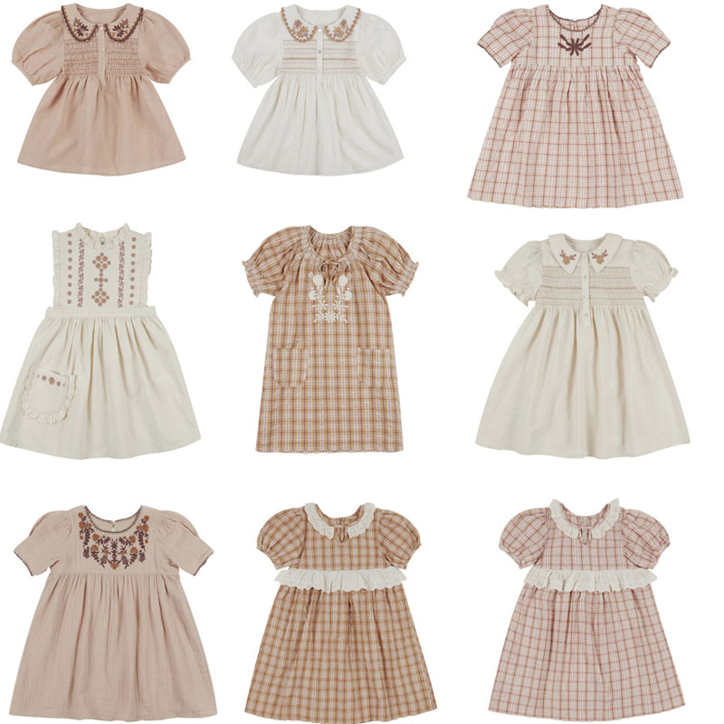 Kids Dresses 2020 AP Brand New Summer Girls Embroidery Flowers Princess Dress Baby Child Fashion Short Sleeve Outwear Clothes