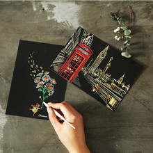 4 Sheets/lot Vintage Scraping Paint Scratch Night View Postcards Drawing View Fireworks Oil Painting Postcard Accessories(China)