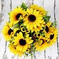 7 филиал/Букет желтый шелк подсолнечника букет Красивый, из искусственных цветов головка маргаритки для Одежда для свадьбы, дня рождения до...