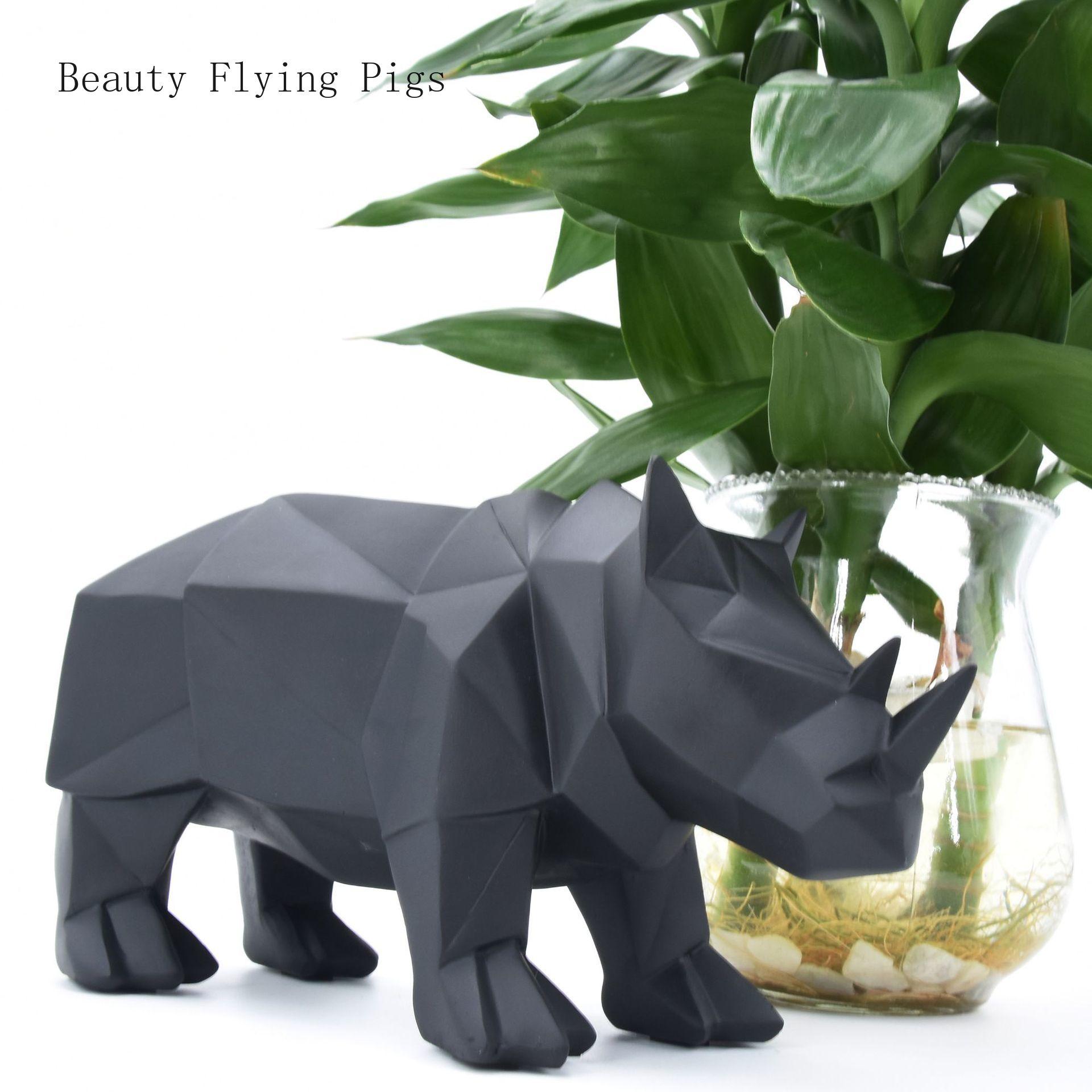 Ventes directes nouveau haut de gamme géométrique art résine ornements maison salon cadeau exquis animaux rhinocéros ornements décoratifs