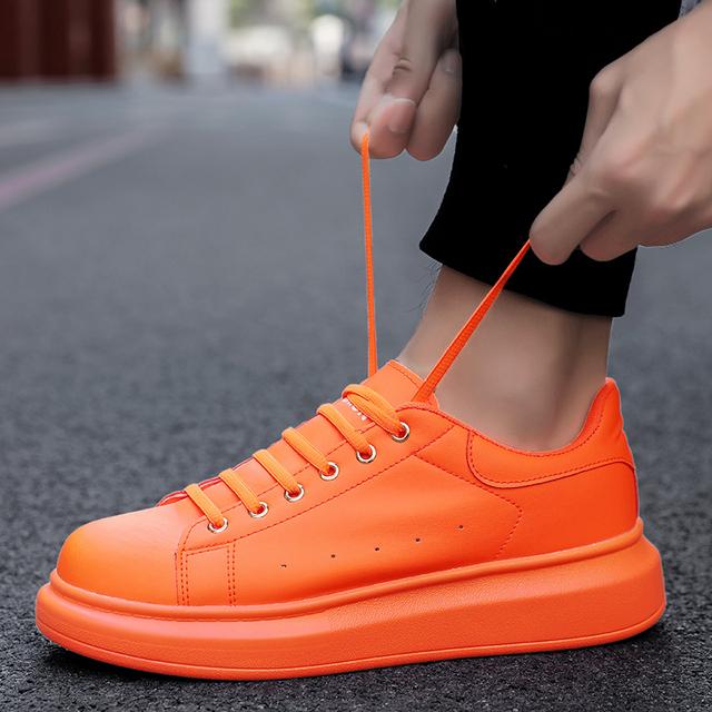 TYDZSMT Sneakers Women 2020 Fashion Vulcanized Shoes Lover Lace-up Casual Shoes Orange Basket Shoe Breathable Walking Men Flats