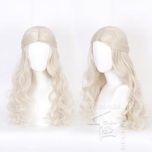 Image 2 - アリスでワンダーランド2白の女王コスかつらブロンド波状ロング人工毛耐熱性繊維ハロウィーンパーティー衣装かつら