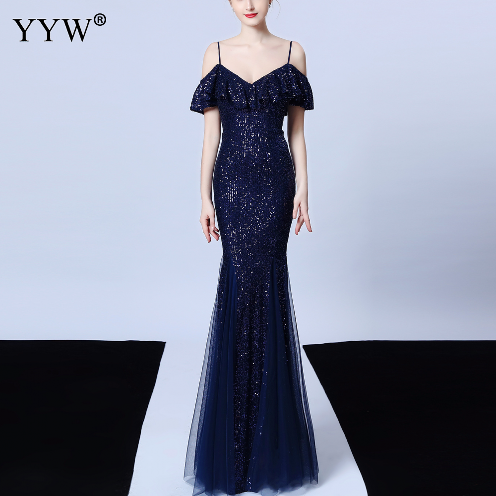 Elegant Women Sequined Evening Dress Ruffles Off The Shoulder Mesh Mermaid Party Gowns Spaghetti Strap Sexy Robe Formal Dresses