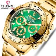 CHENXI الذكور الذهبي المعصم للرجال الساعات ساعة كورتز العارضة الفاخرة العلامة التجارية للماء ساعة رجل Relogio Masculino