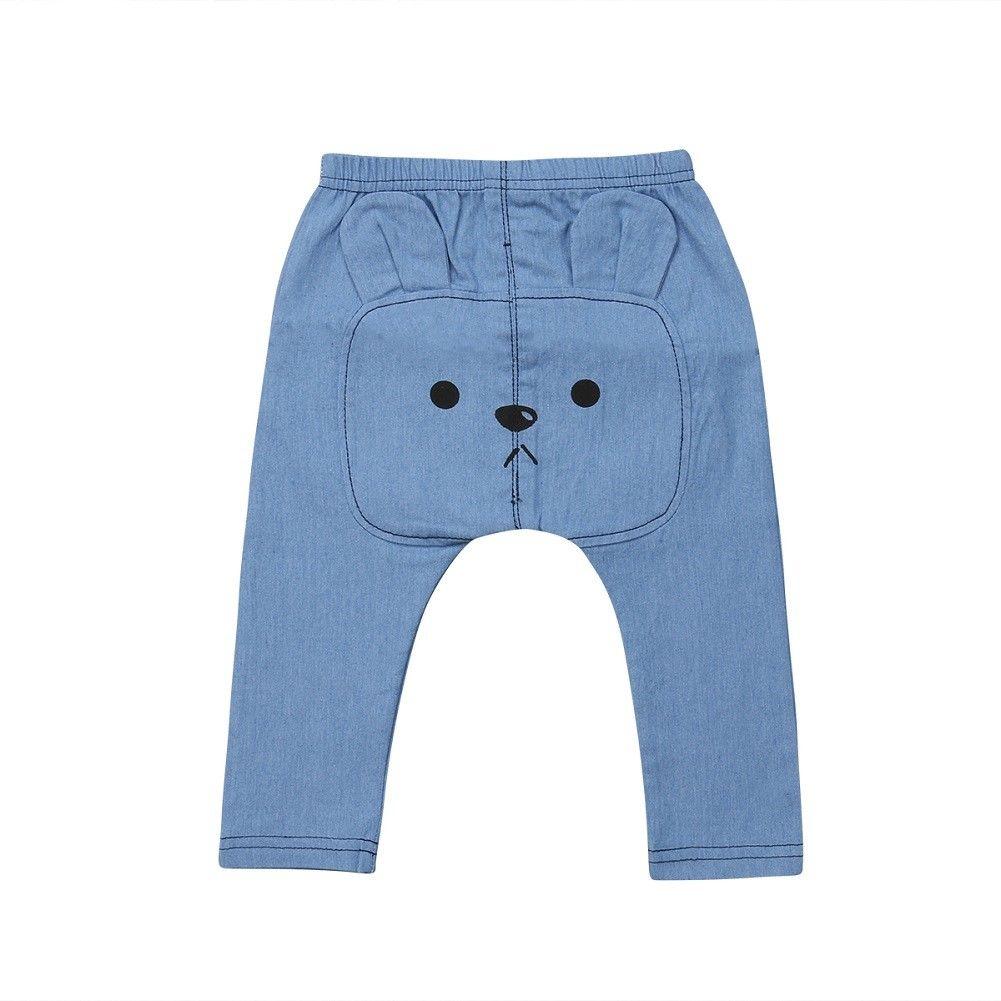 Trousers Sweatpants Leggings Bottoms Toddler Baby-Boys-Girls Cartoon-Bear Blue Cute Solid
