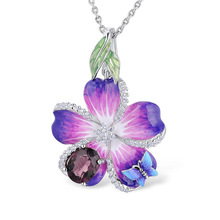 New Purple Blue Flower Butterfly Epoxy Pendant Silver Long Chain Necklace for Women Statement Choker Necklace Fashion Jewelry long blue ribbon choker necklace