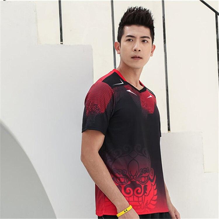 Быстросохнущая, впитывающая пот и дышащая рубашка для бадминтона, топ для соревнований, тренировочный костюм для бега, мужской и женский короткий рукав - Цвет: 1810Amale2