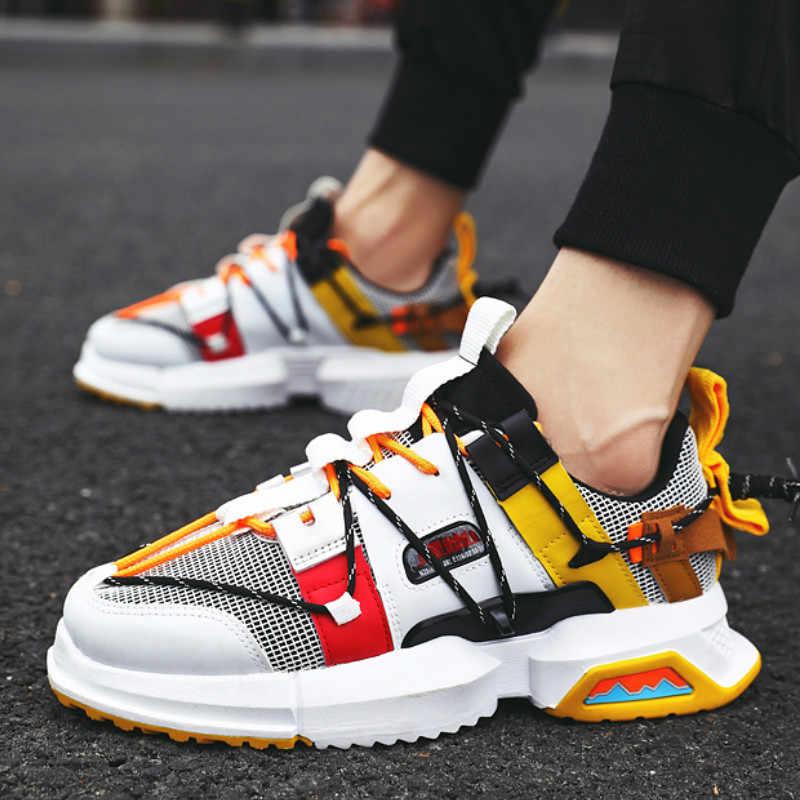 ฤดูใบไม้ผลิชาย Hip Hop High-Top รองเท้า GZ ที่มีสีสัน Kanye Chunky รองเท้าผ้าใบ CROSS ผูก Tenis Casual Breathable รองเท้า Zapatos hombre