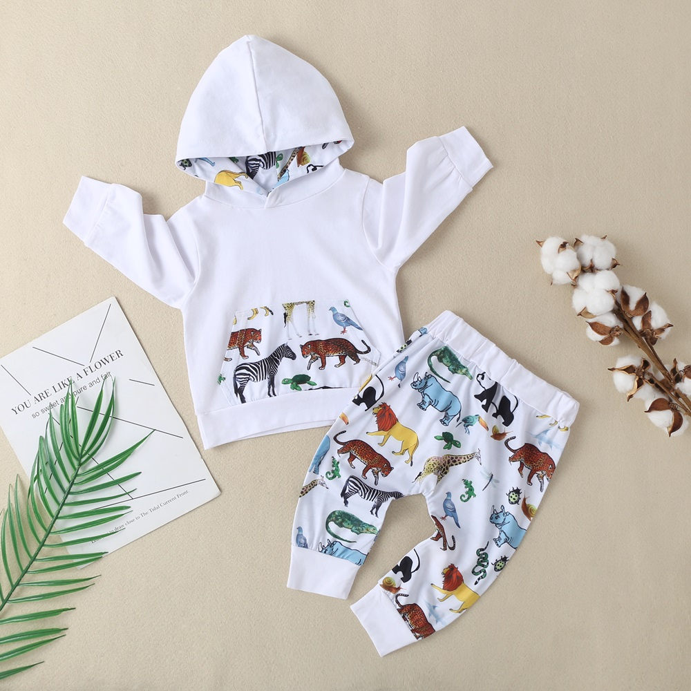 New Baby Boys Girls Clothes Sets Bebe Cotton Dinosaur Tiger Printed Winter Long Sleeve Hooded Sweatshirt+Pants 2Pcs Set Outfits