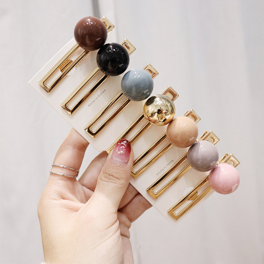 2020 new CN Hair Accessories Acrylic Ball Hairpins For Girls Women Candy Color Pearl Hair Clips Metal Gold Hair Clip Barrettes