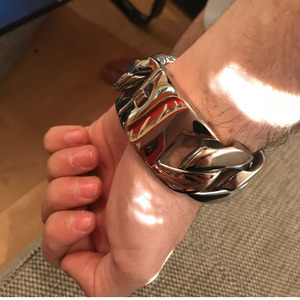 Image 3 - 31MM Wide Shiny Cuba Big Bracelet Men Cool Punk Stainless Steel Jewelry Fashion Mens Bracelets & Bangles Hand Thick Chain