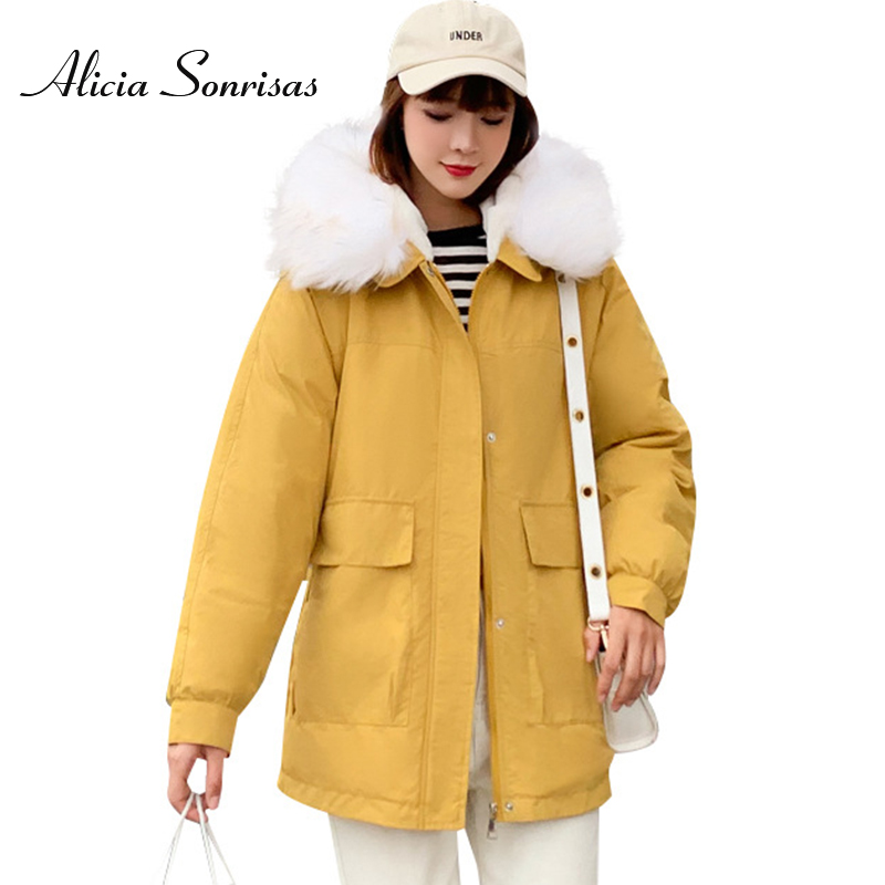 Womens Warm Hooded Down Long Jacket Thick Cotton Padded Winter Coat Fur Collar