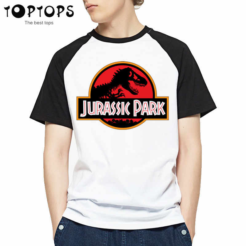 Heren Cool JURASSIC PARK Print Mannen T-shirt Casual Grappige T-Shirts Harajuku Gezellige Tops Tees Hipster O-hals Korte Mouw top Tshirt