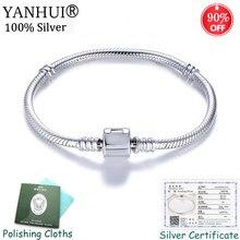 купить Certificate as Proof! 100% Authentic 925 Silver Snake Chain DIY Charm Bracelet Fine Gift Wedding Jewelry for Women Dropshipping дешево