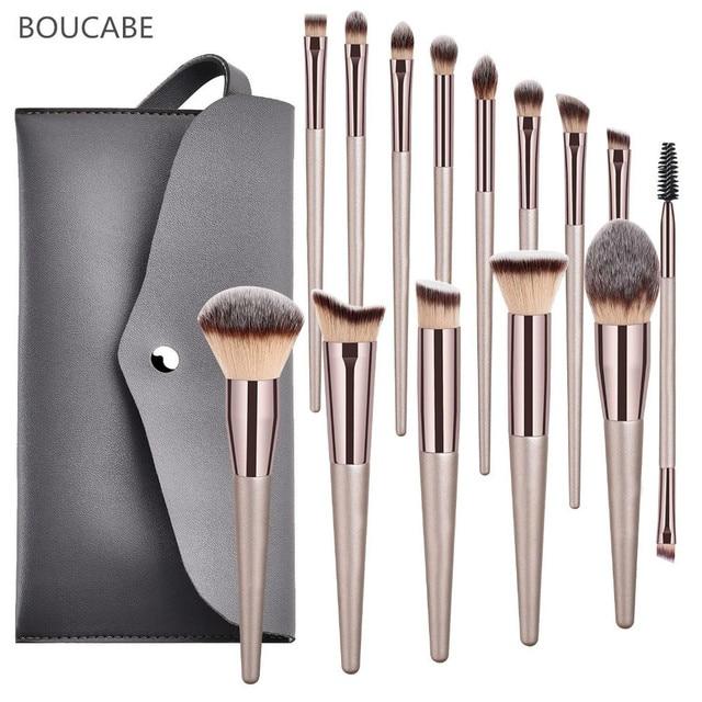 4-14pcs Makeup Brushes Set For Foundation Powder Blush Eyeshadow Concealer Lip Eye Make Up Brush With Bag Cosmetics Beauty Tools 1